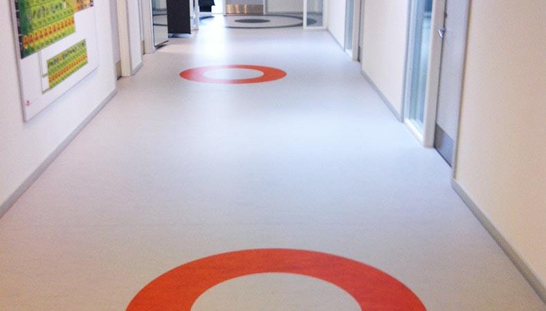 Linoleum designgulve på Mulernes Legatskole i Odense